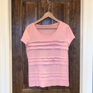 Loft light pink ruffle tee, L
